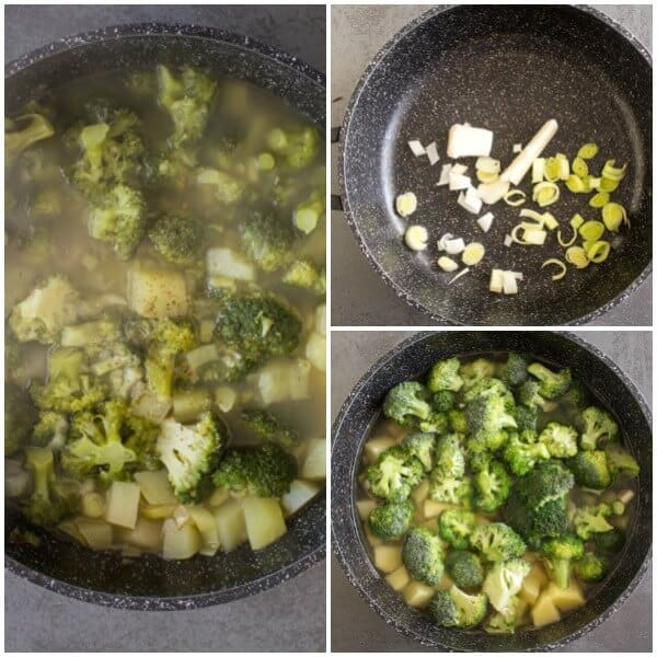 Three Vegetable Creamy Broccoli Soup is a quick and easy Homemade Cream Soup without milk or cream. A light vegetarian soup.