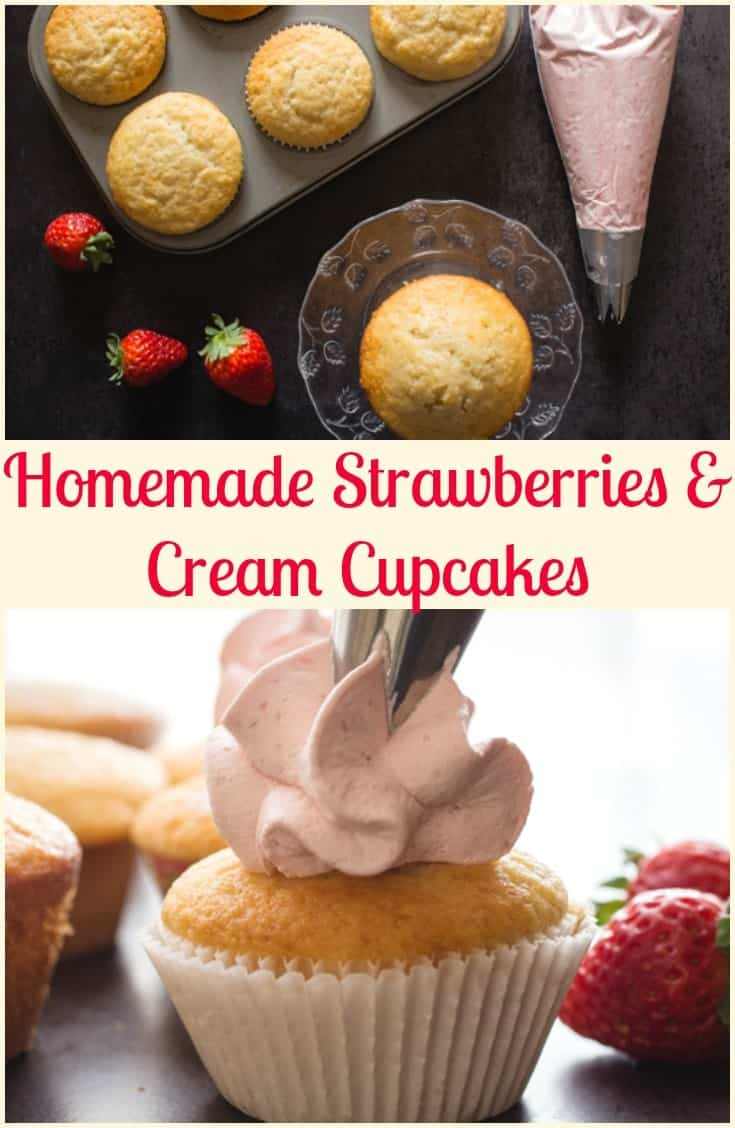 Homemade Strawberries and Cream Cupcakes, the perfect, easy light snack or dinner dessert. Made with fresh strawberries and so delicious. #cupcakes #strawberries #fruit #summerdessert #dessert