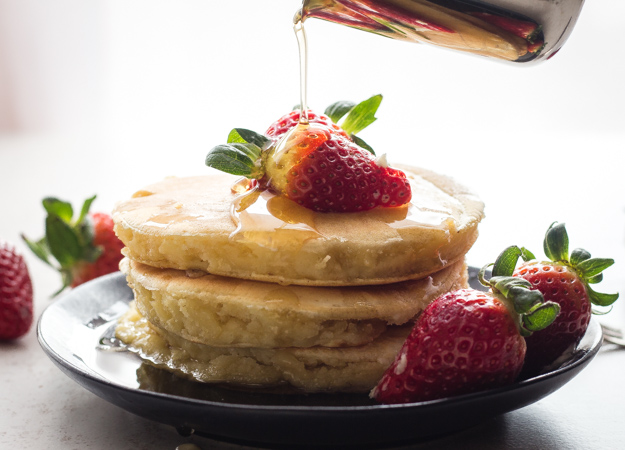 Homemade Pancakes, an easy light lactose free made from scratch Pancake Recipe. Your new delicious fluffy Pancakes.