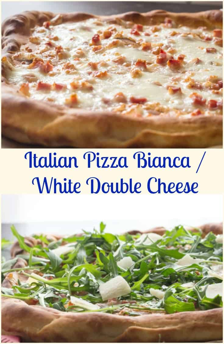 Italian Pizza Bianca, this Best Easy White Pizza is made with pancetta, mozzarella, parmesan flakes and arugula. So good, one of the best Pizzas! You will never miss the Sauce. #pizza #whitepizza #mozarella #Italian