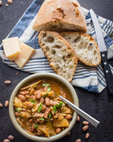 Italian Bean Pancetta Cabbage Soup, a delicious homemade healthy soup, made with dried beans, spices, cabbage & pancetta (bacon).Comfort Food.