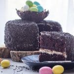 Chocolate Easter Egg Nest cake front view