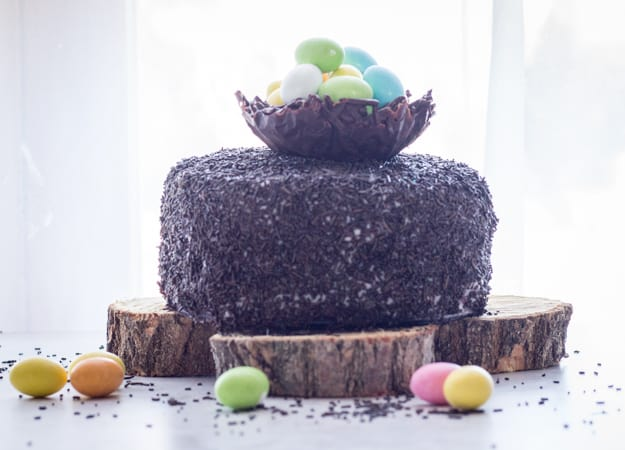 Chocolate Easter Egg Nest cake front view the whole cake on a wooden board