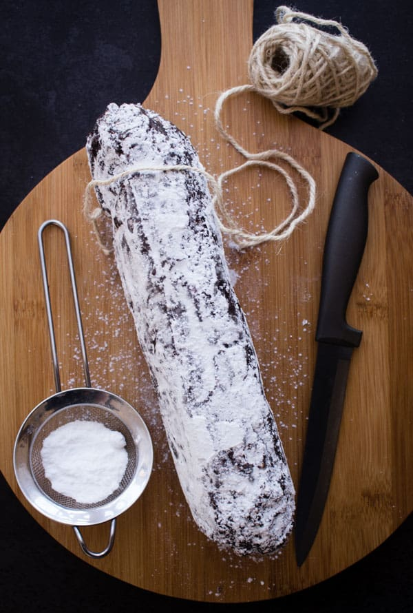 Chocolate Salame, a fast, easy, no bake, Italian sweet dessert or snack. The perfect Easter or any time treat.