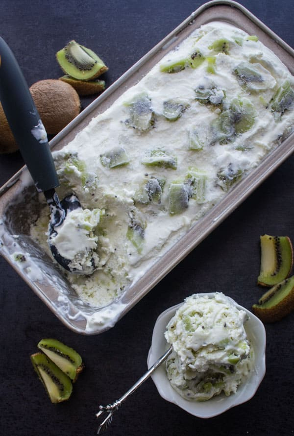 Homemade No Churn Kiwi Ice Cream, fast and easy and made with fresh kiwi. A perfectly delicious Cool Dessert!