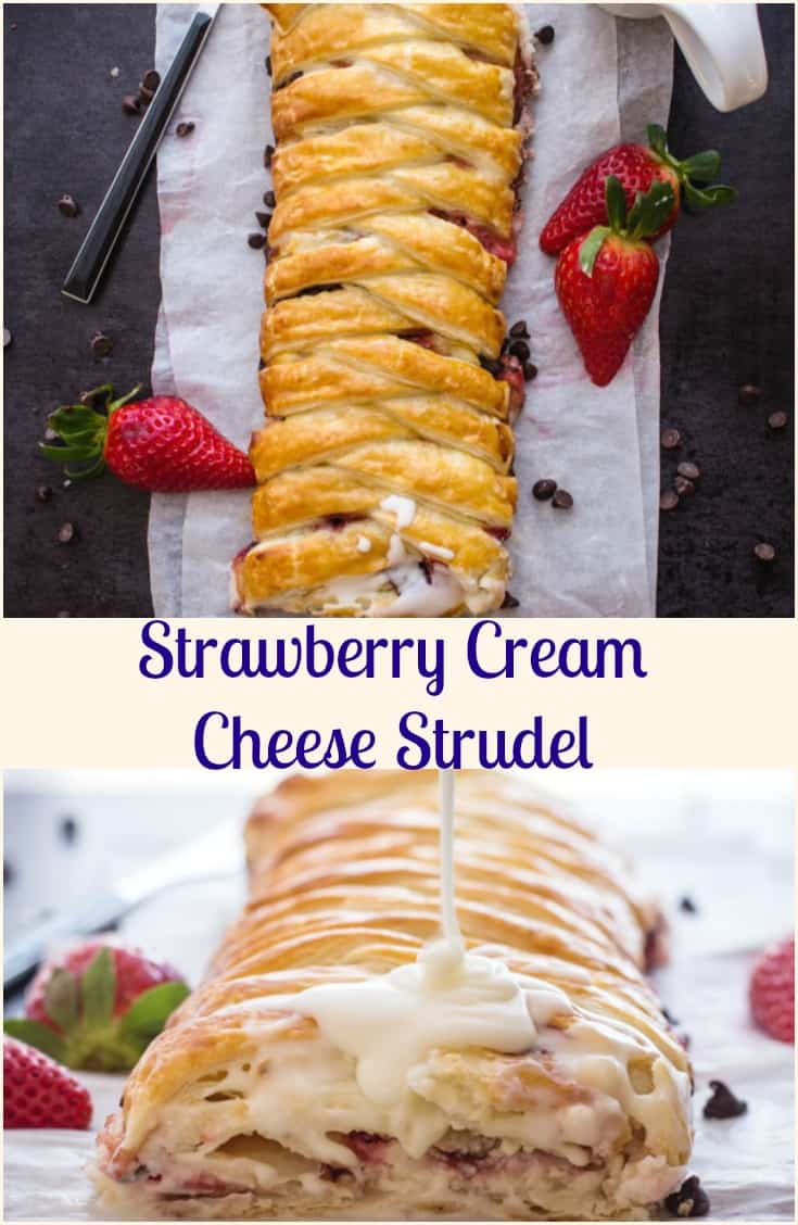 Strawberry Cream Cheese Strudel recipe is a fast, easy & simple dessert, fresh strawberries & cream cheese filling ready in 30 minutes.