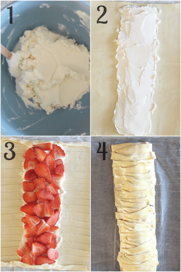 strawberry strudel how to make, the filling, adding the filling to the puff pastry, wrapping it before baking