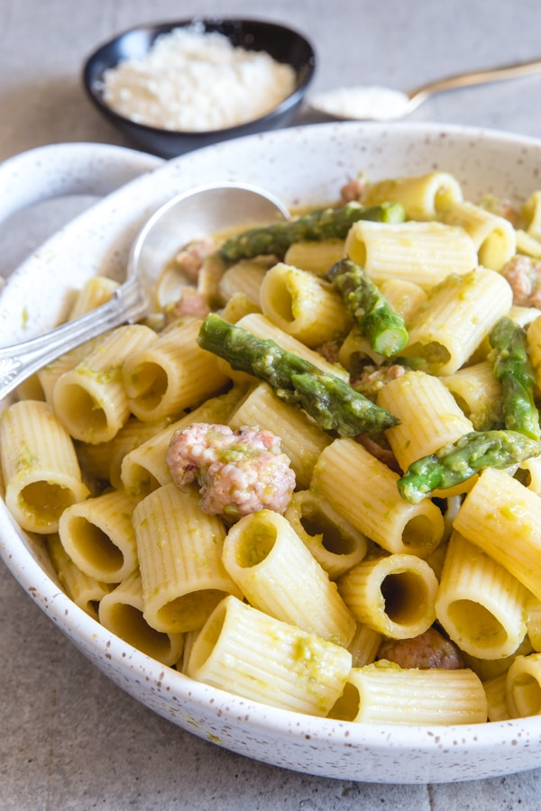 asparagus pasta made in a white baking dish
