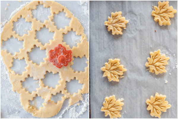 rolling out the dough and cutting into leaf shapes on a prepared cookie sheet