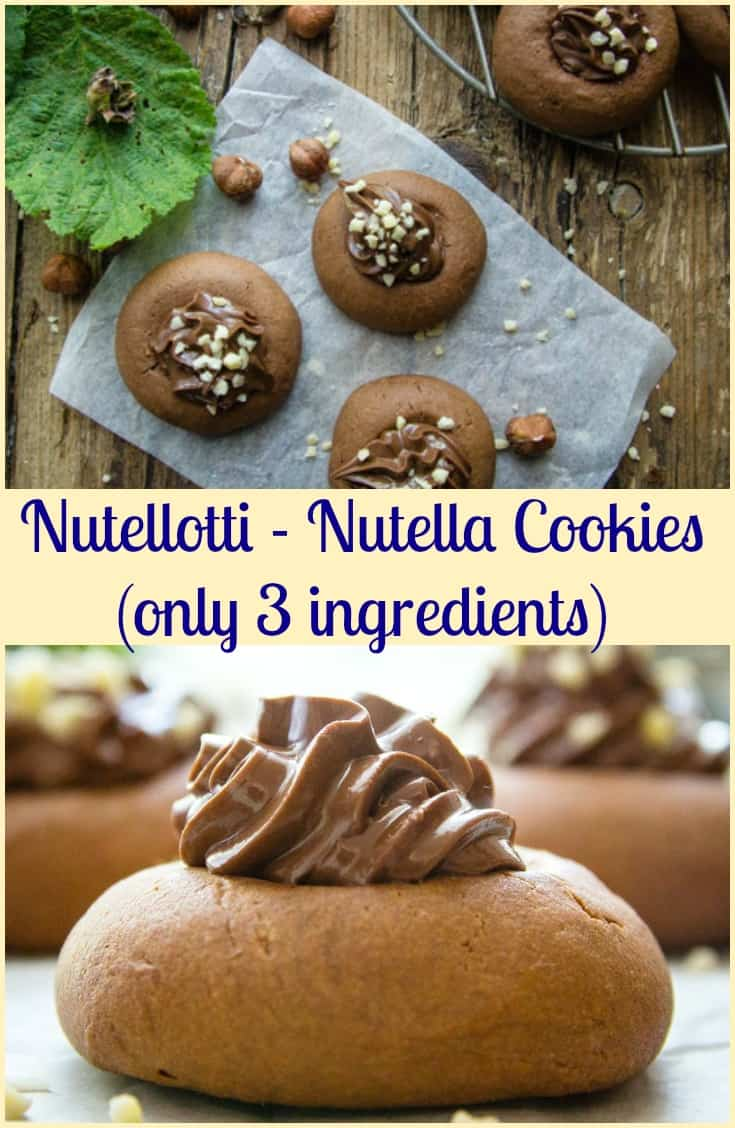 Nutellotti Cookies, Nutella Cookies, three ingredient Italian Cookie recipe, fast and easy, a delicious Snack or Dessert idea. #cookies #Nutella #Italian #one bowl #snack