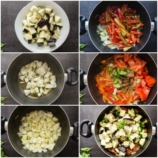 6 photos of how to make ratatouille