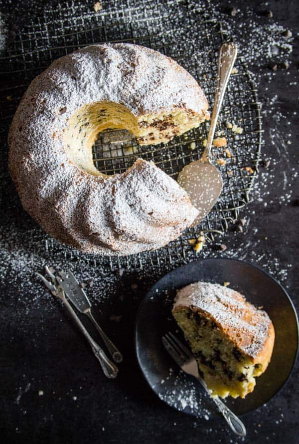 Italian Breakfast Cake made with mascarpone and chocolate chips, the perfect Breakfast, Snack or Dessert Cake Recipe.