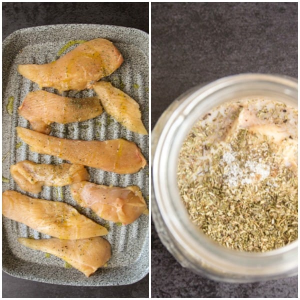 2 photos of grilled chicken salad before cooked and dressing before mixed