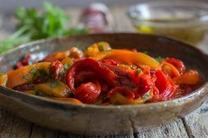 roasted peppers in a bowl