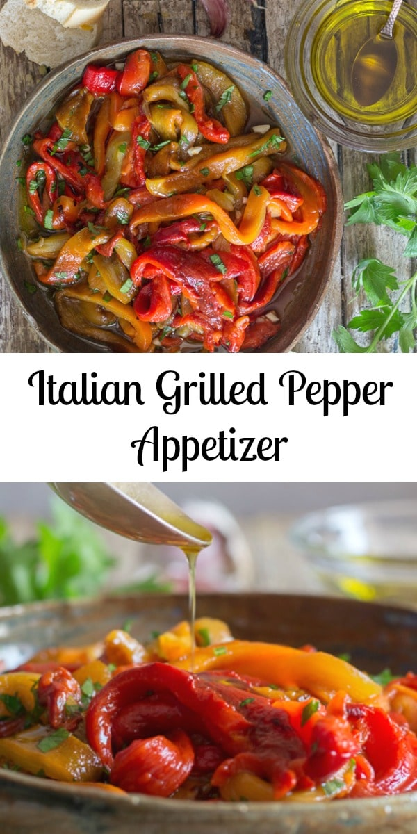 Italian Grilled Pepper Appetizer, the perfect Roasted Pepper Recipe, tossed with fresh parsley and olive oil, so easy and delicious, make this your next appetizer! #appetizer #roastedpeppers #grilledpeppers #Italianrecipe #grilling #bbq #peppers