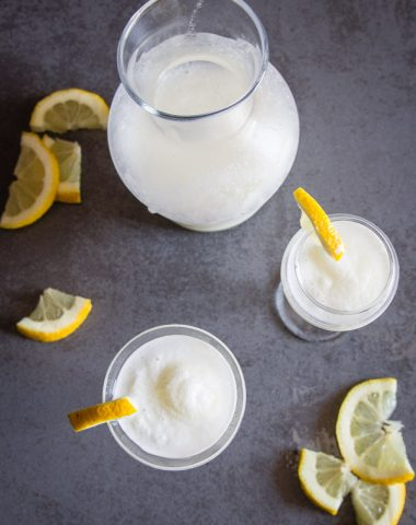 Italian Lemon Sorbet Drink, a delicious traditional Italian digestive middle of dinner drink. Creamy Lemony and so good.