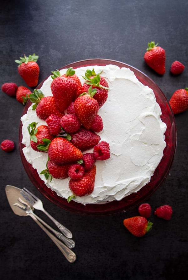 Strawberries and Cream Vertical Layer Cake, a simple fresh fruit and cream dessert recipe, the perfect Canada Day Dessert.