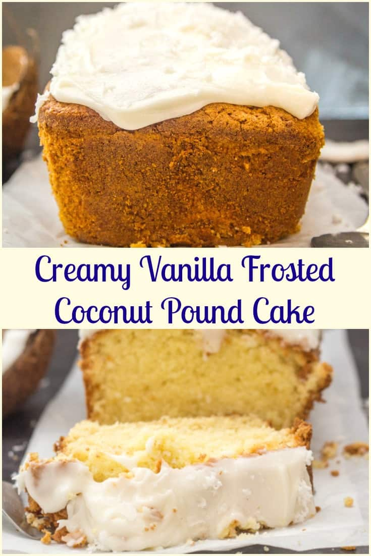 Coconut Pound Cake with a creamy Vanilla Frosting, an easy, simple sweet loaf recipe.  The perfect dessert, snack or Breakfast treat. #coconutbread #sweetbread #dessert #coconut #poundcake #cake