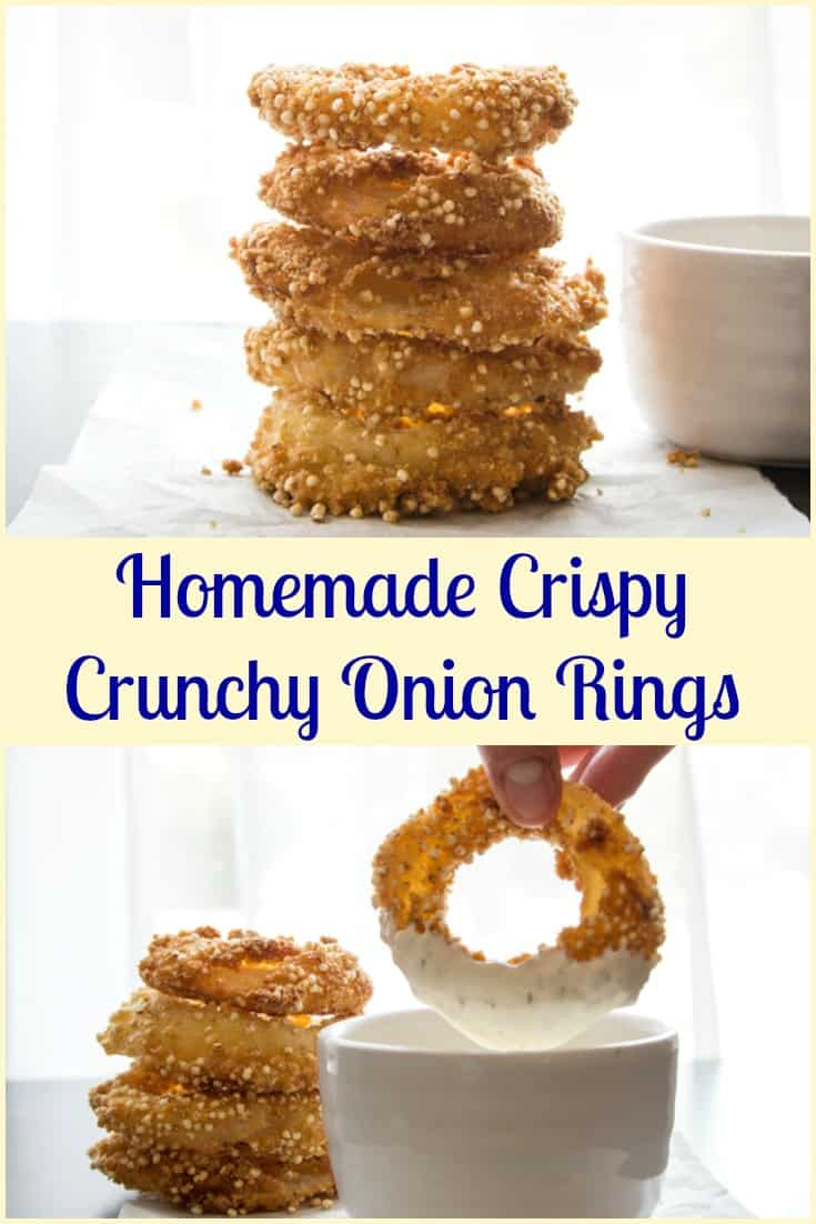 Homemade Crispy Crunchy Onion Rings, the best, easy, fried & breaded (with a secret ingredient) onion rings you will taste. Delicious.