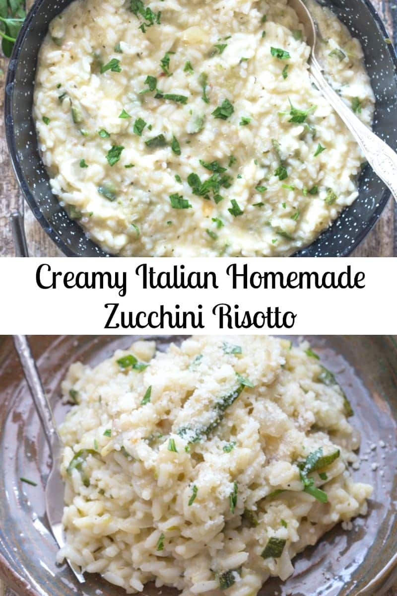 This creamy Risotto is made with fresh Zucchini, herbs, cream and freshly grated Parmesan Cheese. The perfect Italian Main Dish. #risotto #zucchini #Italianrecipe #maindish #dinner #rice