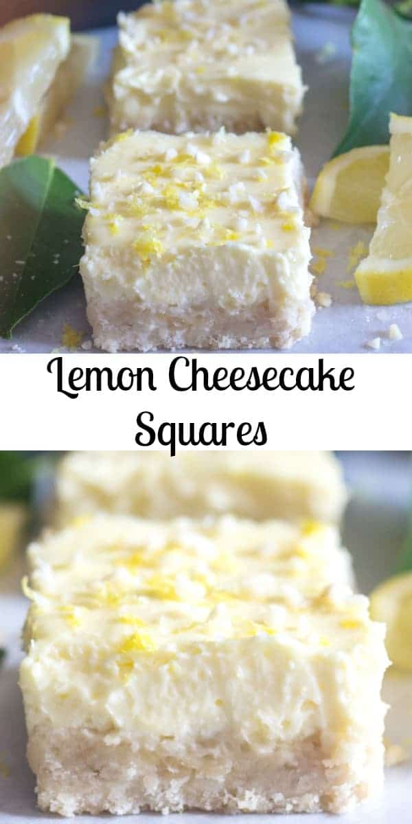 Lemon Cheesecake Squares, a delicious shortbread base & a creamy lemony filling. The perfect Cookie Bar or Dessert recipe. #cheesecake #christmascookies #cookies #bars