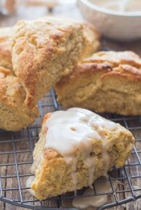 brown sugar cinnamon scones on a wire rack.