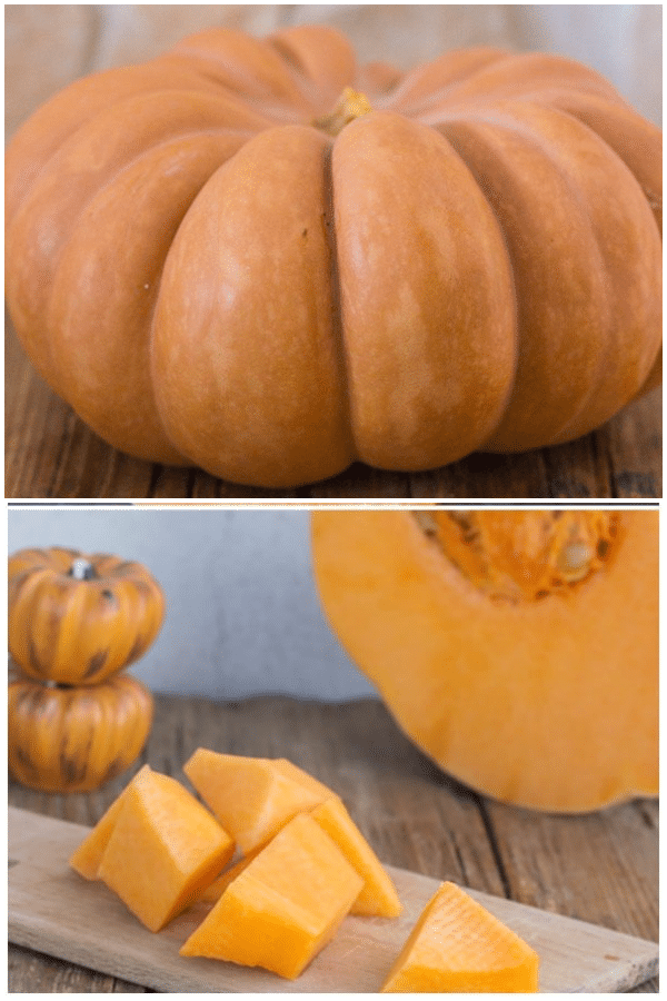 making pumpkin puree, pumpkin whole and cubed