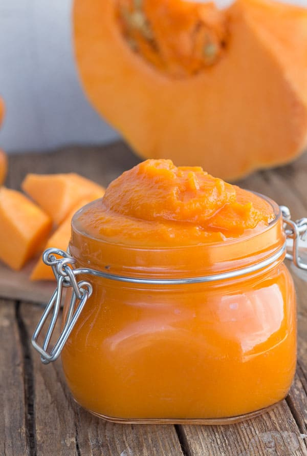 Easy Homemade Pumpkin Puree, a fast and easy no oven Pumpkin Puree, no additives, no salt just pure Pumpkin. Vegan, Vegetarian, gluten free.