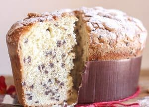 a slice of Panettone cut