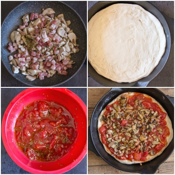 4 photos of mushroom pancetta in a pan, sauce in a bowl, dough and cast iron skillet pizza to be baked
