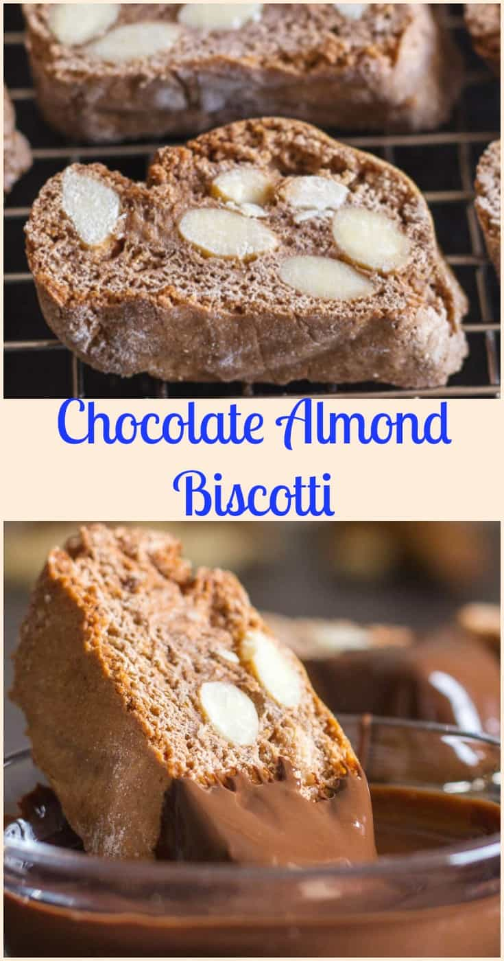 Chocolate Almond Biscotti, an Traditional Italian chocolate cookie, made with roasted almonds and honey.  The perfect holiday cookie. #biscotti #cookies #Italian #cantucci #Christmas