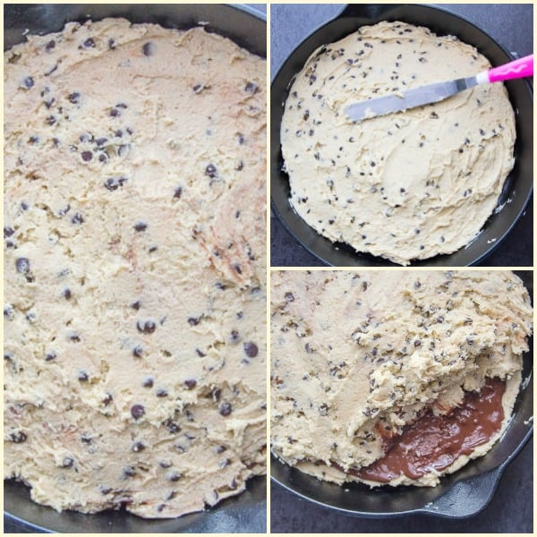 photos of how to make chocolate chip skillet cookie