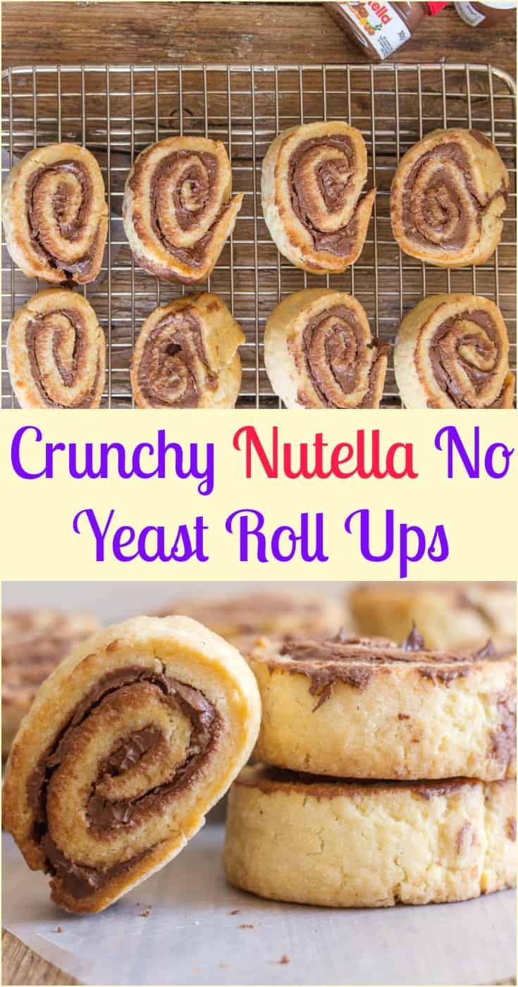 Crunchy #Nutella No Yeast Roll Ups, a crunchy #cookie, the perfect #snack, dessert or even for breakfast. Kids will love them.