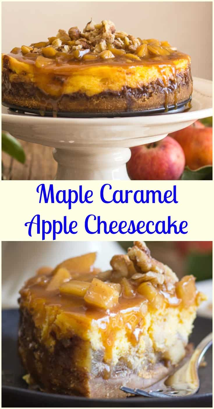Maple Caramel Apple Cheesecake, an easy homemade dessert recipe, a filling made with fresh apples, and a delicious pecan caramel topping. #cheesecake #caramel #apple #maple syrup #dessert