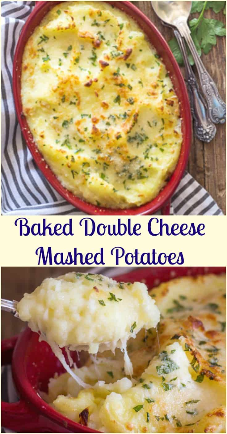 Double Cheese Mashed Potatoes, #baked with #mozzarella & parmesan cheese, Italian parsley the perfect side dish for #Thanksgiving & #Christmas.