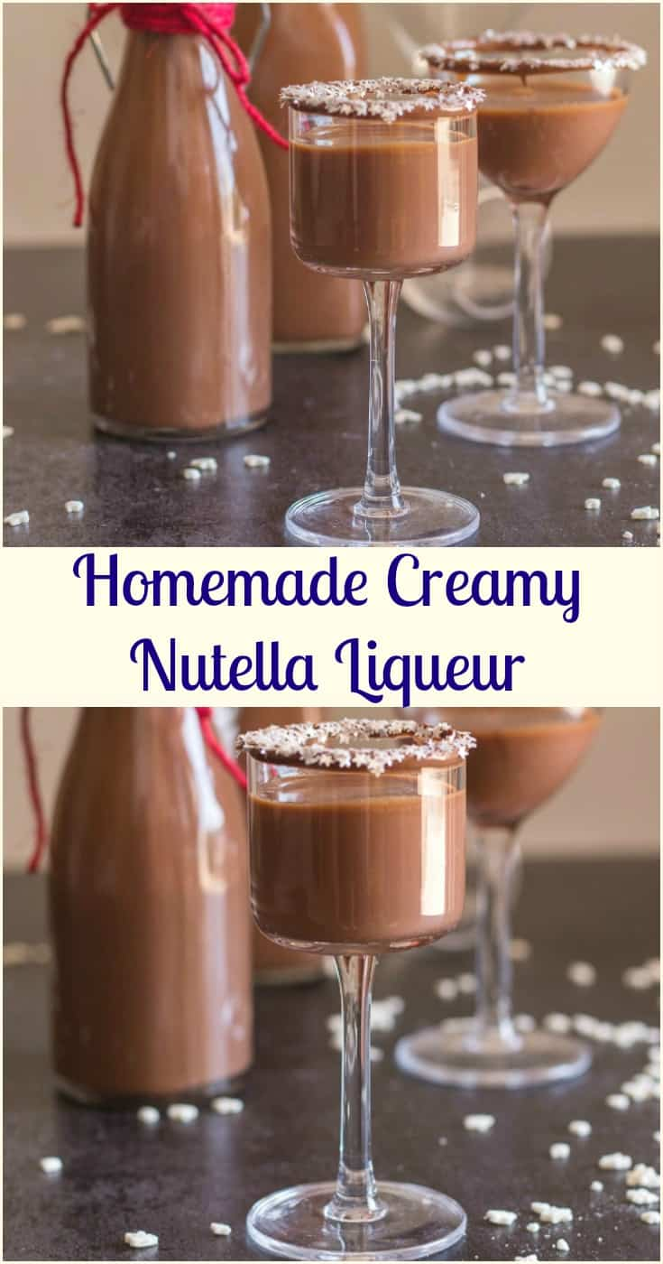 Homemade Creamy Nutella Liqueur an easy delicious hazelnut cream liqueur. Cold or on the rocks is the perfect Christmas holiday drink or dessert. #drink #liqueur #nutellaliqueur #Christmasdrink #dessertdrink