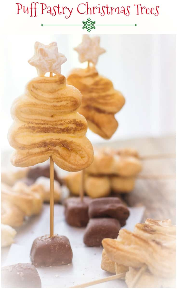 Puff Pastry Christmas Trees, a simple, easy and delicious #Christmas Holiday idea.  #Cinnamon sugar crunchy #cookies.