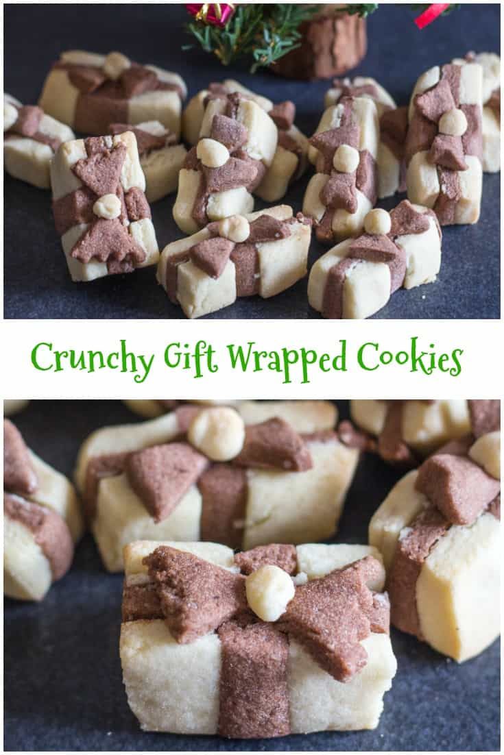 Crunchy Gift Box Cookies a delicious vanilla & chocolate sugar cookie that looks like a gift, the perfect Christmas Holiday Cookie. #cookies #Christmas #gift idea