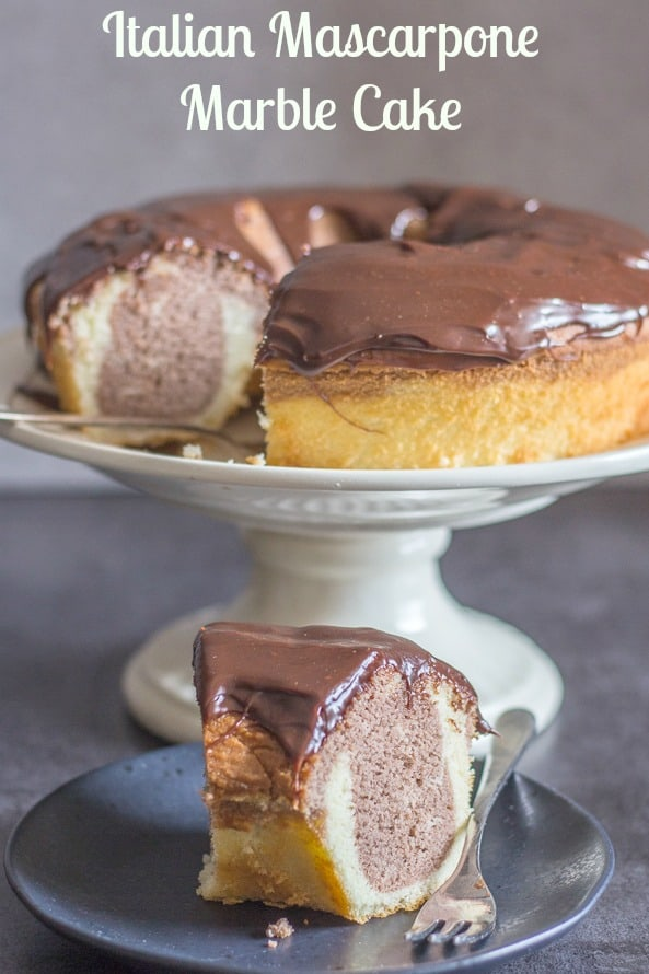 An easy made from scratch Italian Marble Cake, mascarpone makes this a delicious soft Italian cake, the perfect snack or dessert cake recipe. #cake #marble #chocolate #Italian #dessert #snack #mascarpone