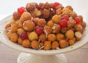 upclose photo of struffoli Italian honey balls