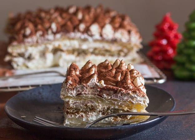 one slice puff pastry tiramisu on a plate