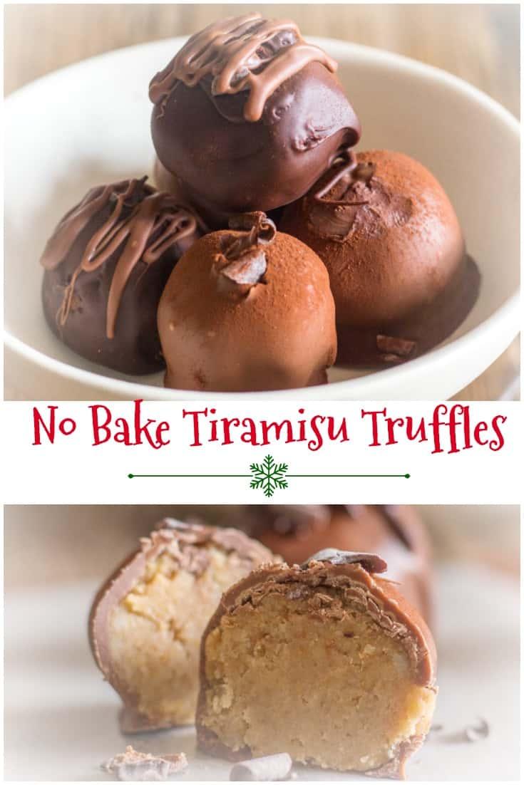 No Bake Tiramisu Truffles made with lady fingers, mascarpone, coffee and cream, then dipped in melted milk or dark chocolate. #truffles #no bake #gift idea #Christmas #chocolate