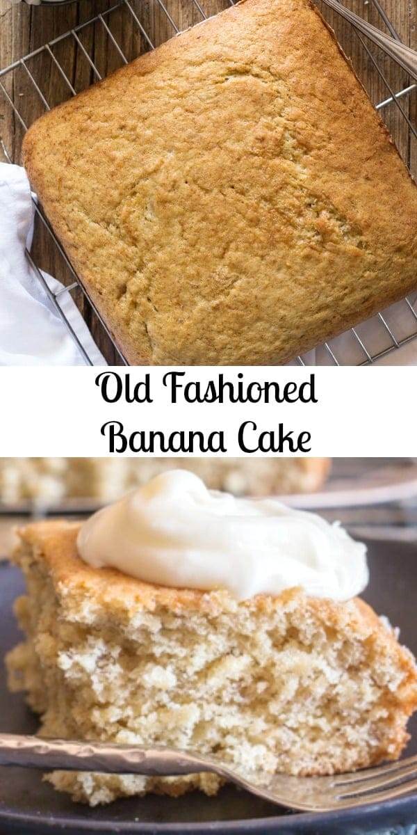 Old Fashioned Banana Cake the best and easy Cake Recipe, the perfect dessert or snack cake.  Frosted or Plain it's perfect. #cake #bananacake #banana #dessert #easycakerecipe