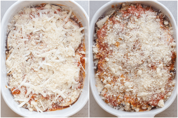 eggplant parmesan layered with cheese and ready to bake