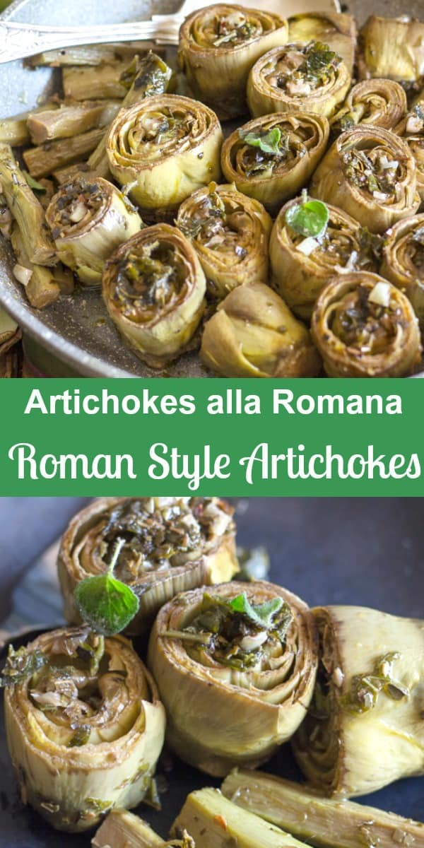 Artichokes Alla Romana (Roman Style), the most delicious way to eat artichokes.  Sautéed in olive oil, with fresh mint, garlic and oregano so deliciously tasty.  I bet you can't eat just one! #artichokes #vegetables #Italianrecipe
