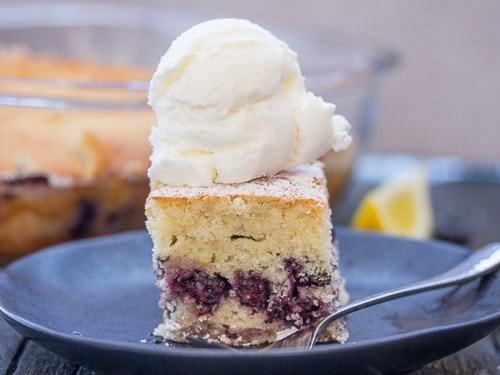 a cut slice of easy blueberry bars