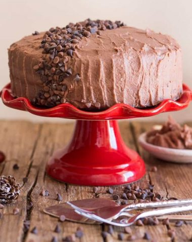 chocolate cake with mocha icing on a red cake stand