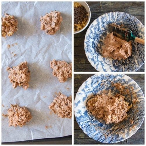 how to make chocolate chip walnut cookies making the dough in a blue bowl and dropped on cookie sheet.