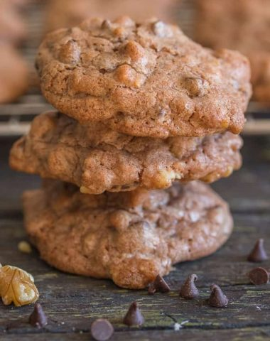 chocolate chip walnut cookies 3 cookies stack on each other