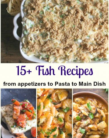 a selection of fish dishes shrimp, tuna, baked fish